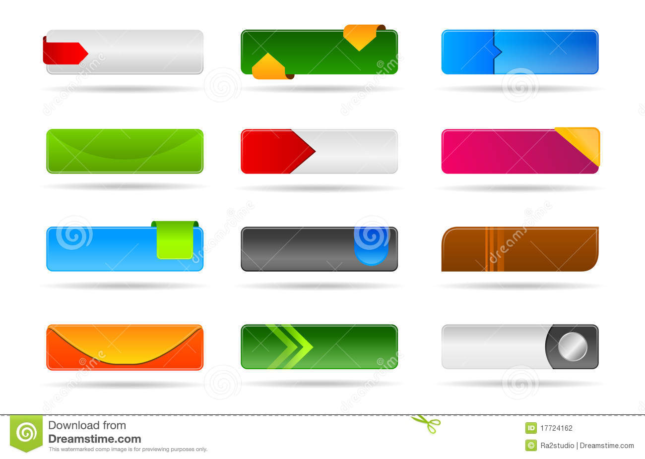 Colorful modern template buttons and banners stock for Design a button template free