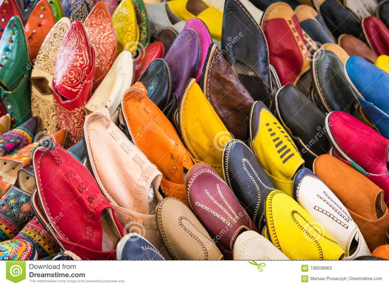 abfbd373053 Colorful Moroccan Shoes Alignment In A Shop. Oriental Shoes In A ...