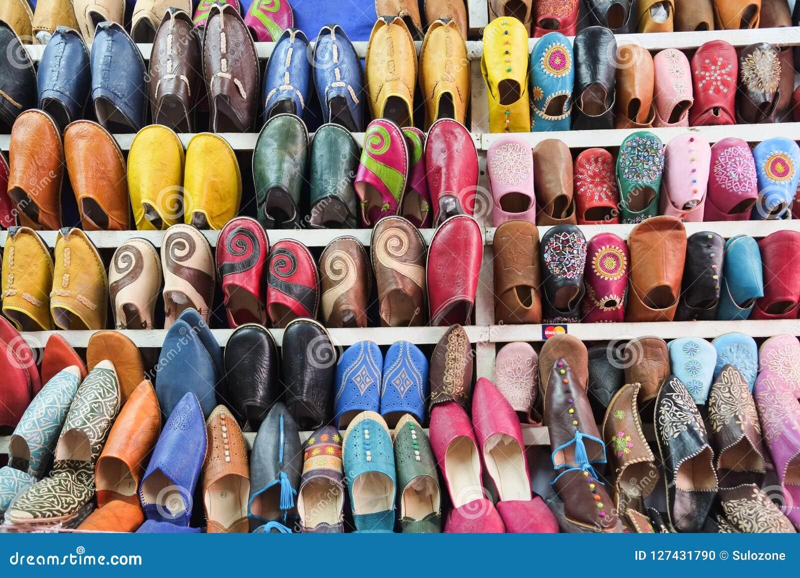 c8bcb317dd14 Colorful Moroccan Shoes At Marrakech Souk Market