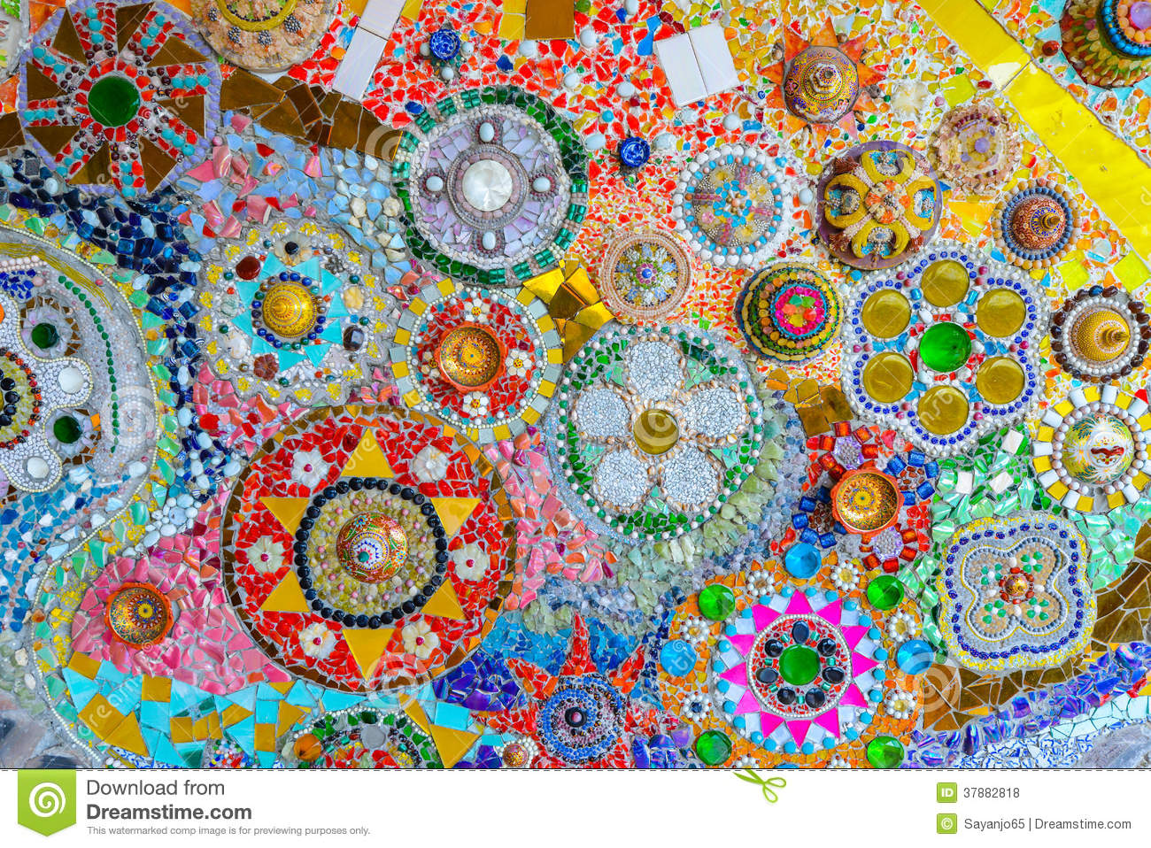 Colorful Mosaic Art And Abstract Wall Background Stock