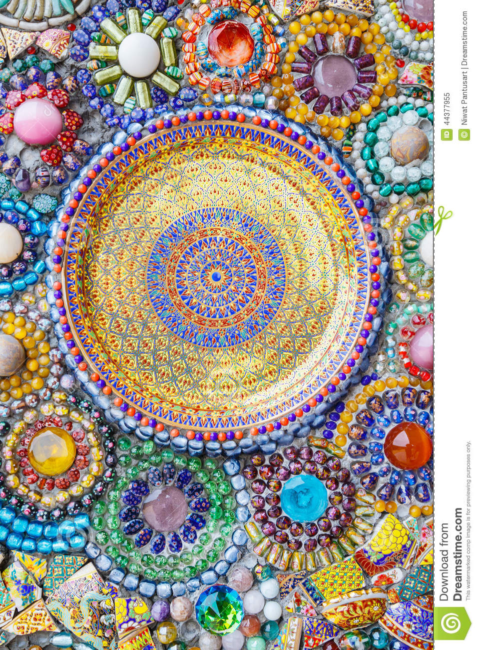 Colorful Mosaic Art Abstract Wall Background Stock Image