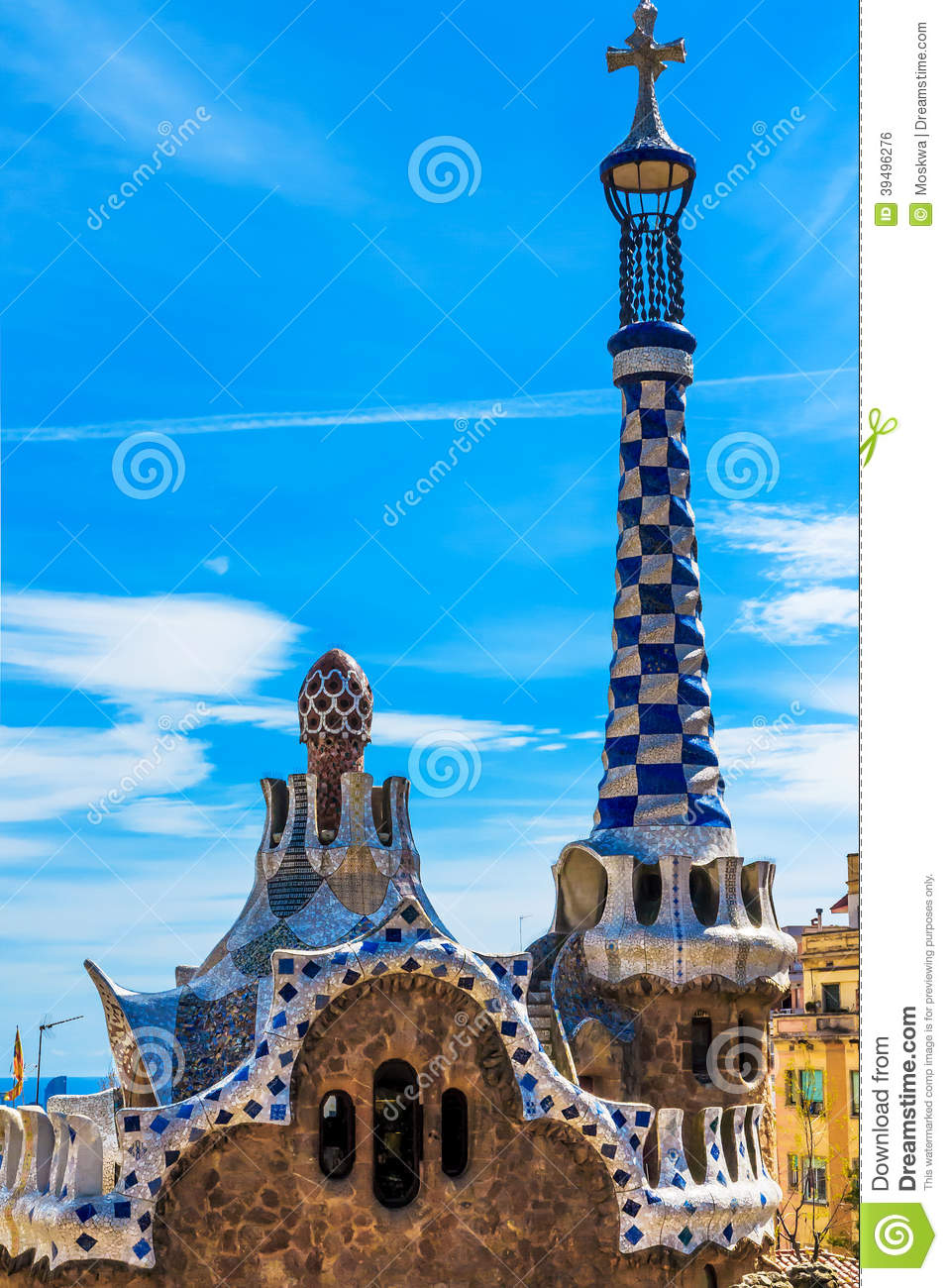 Colorful Mosaic Building In Park Guell Barcelona, Spain Stock Photo ...