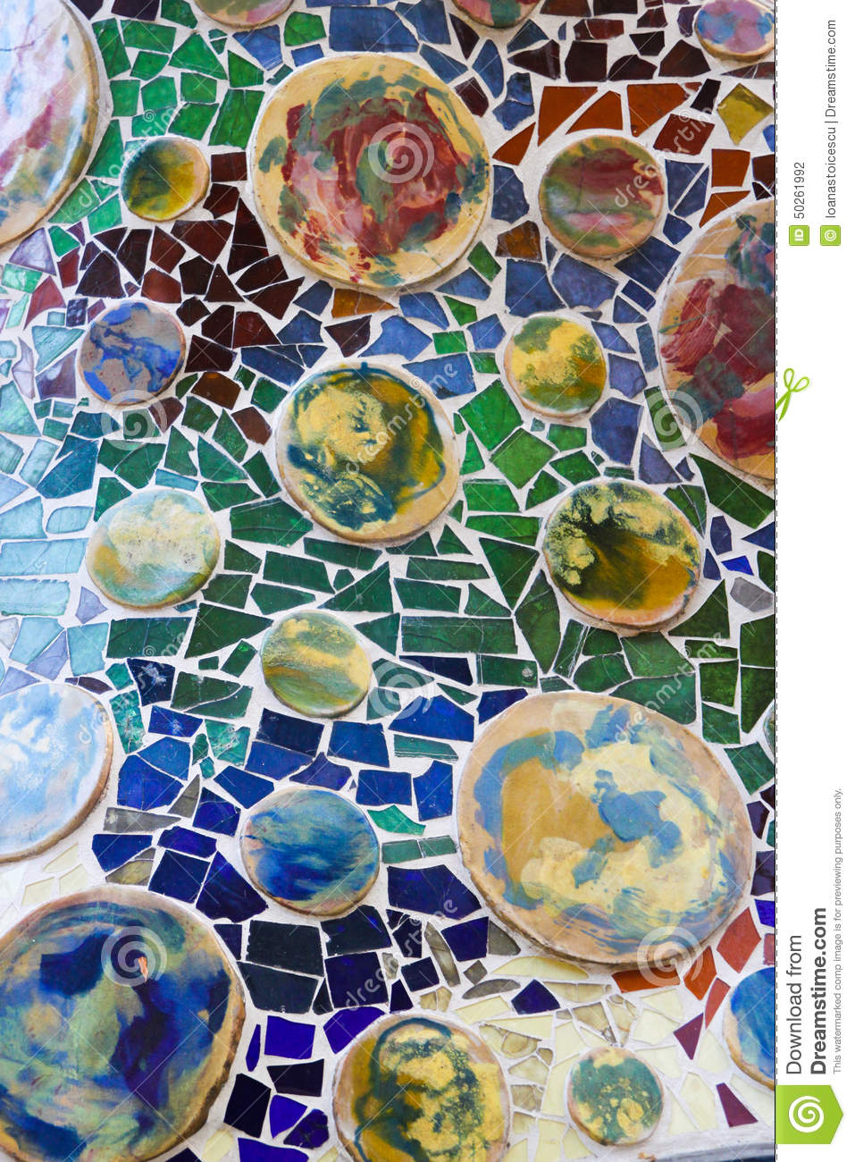 Colorful Mosaic In Casa Batllo By Antoni Gaudi Editorial