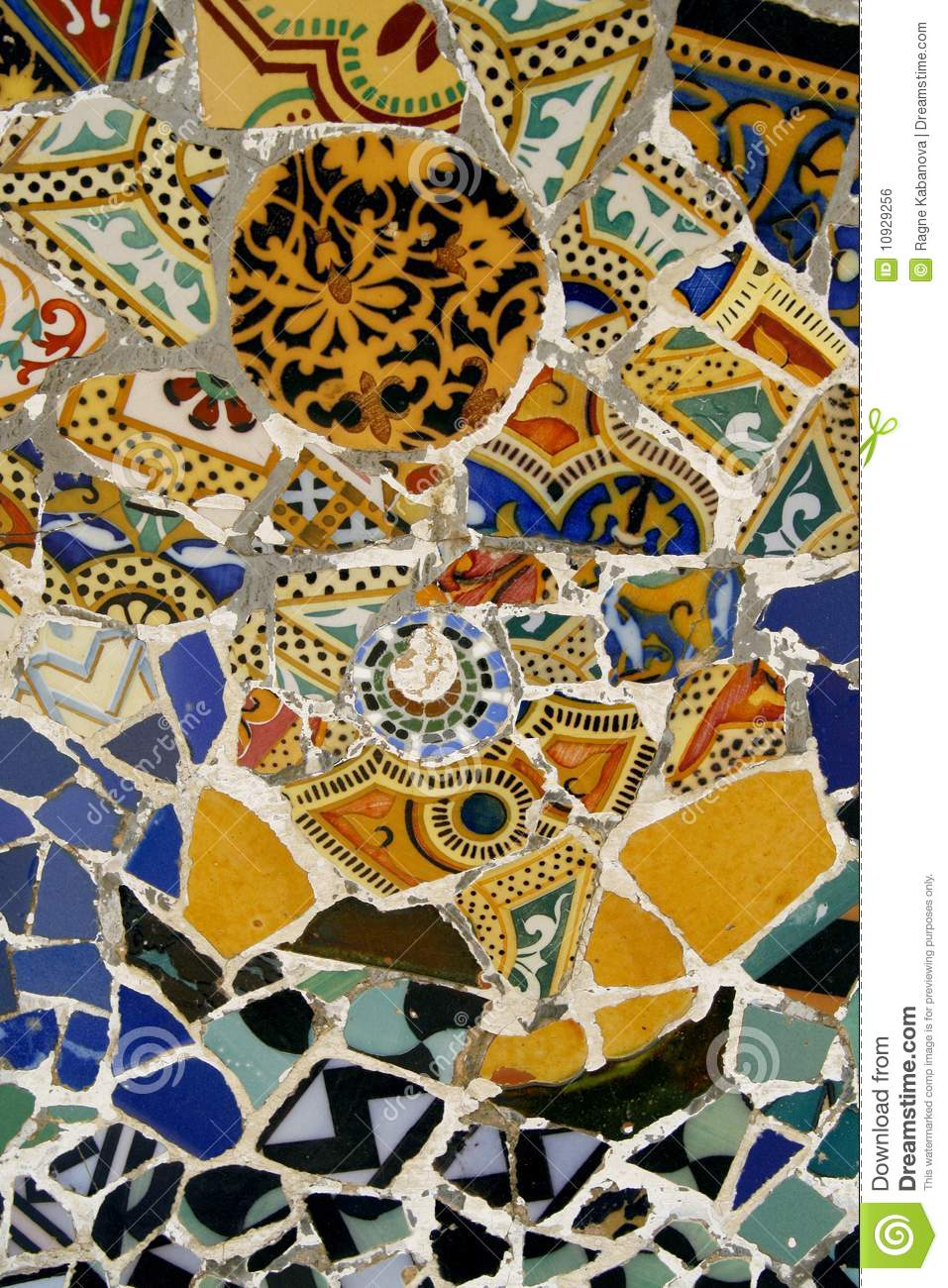 Colorful Mosaic Tiles In Park Guell Spain Royalty Free