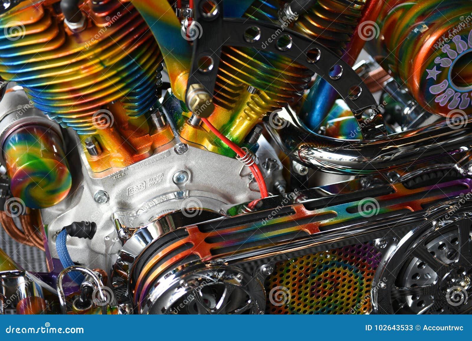 Colorful motorcycle engine, Sturgis, South Dakota, August 2017