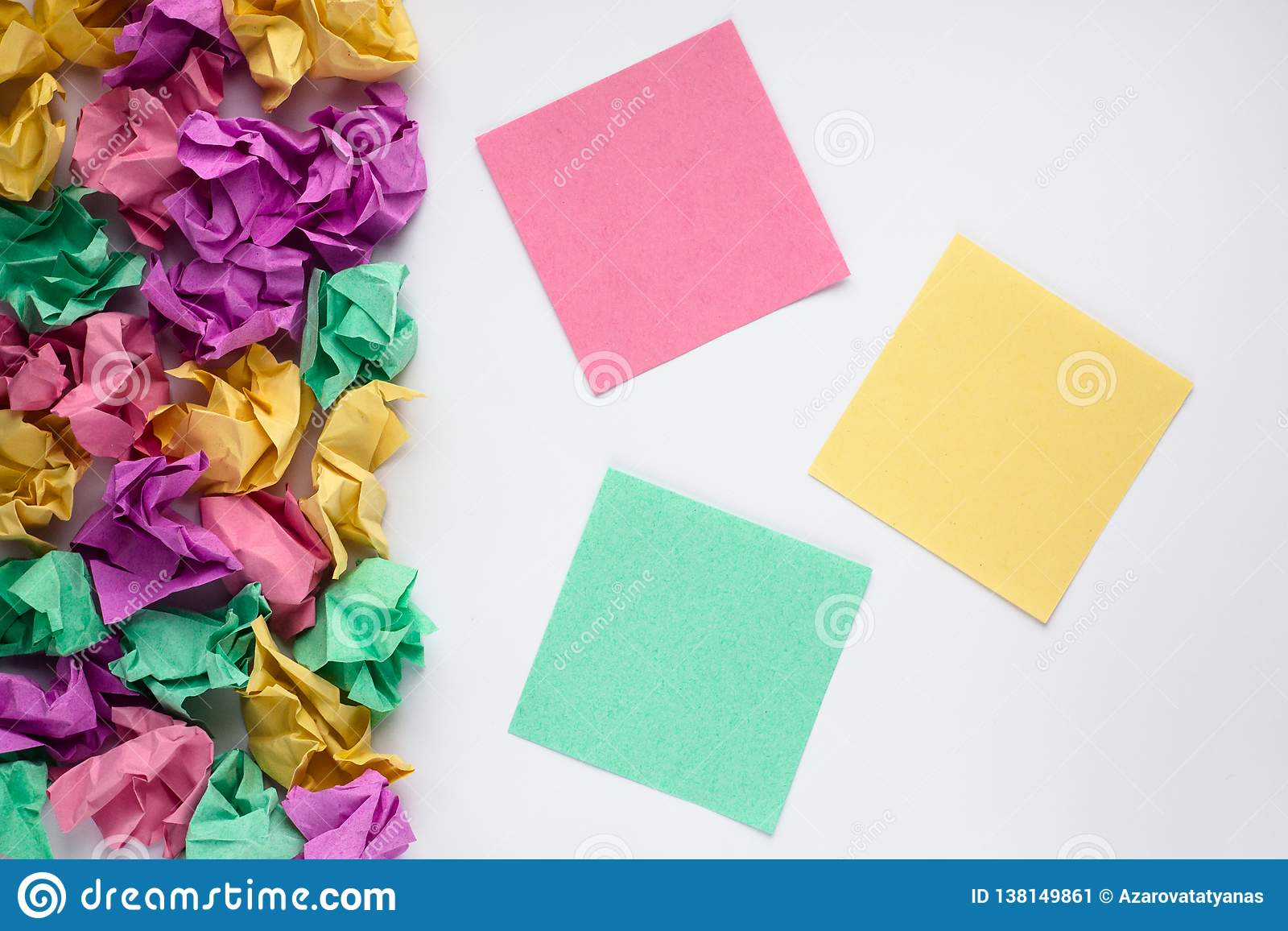 Colorful multicolored sticky notes on white background. Sticker note. Education concept. Copy space.