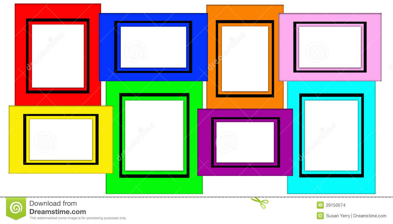 Colorful multiple blank picture frame set stock images image 29150074 - Marco de fotos multiple ...