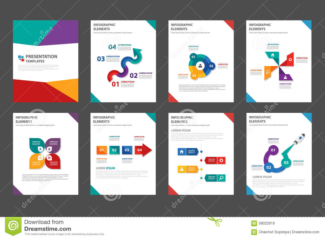 8 colorful multipurpose brochure flyer leaflet template for Marketing brochure template