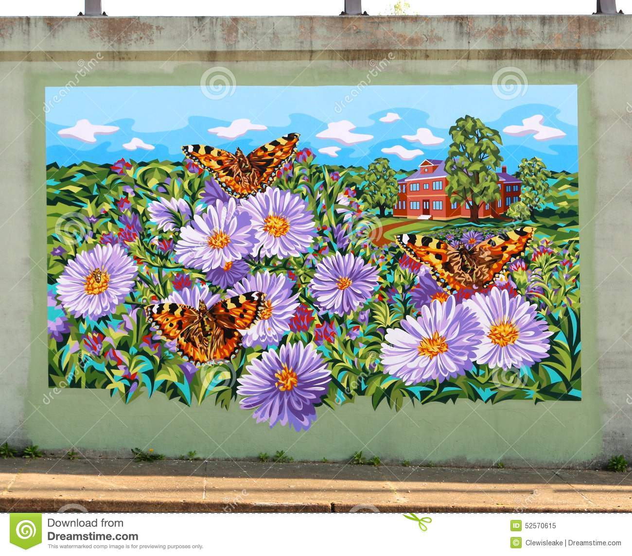 Colorful mural of house surrounded by flowers and for Mural of flowers