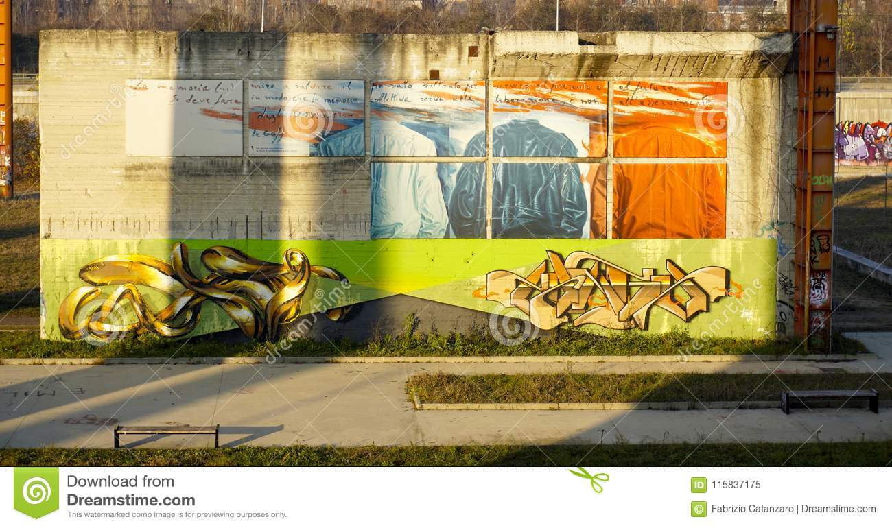 Colorful Murals At The Park Editorial Image - Image of urban, sunset ...