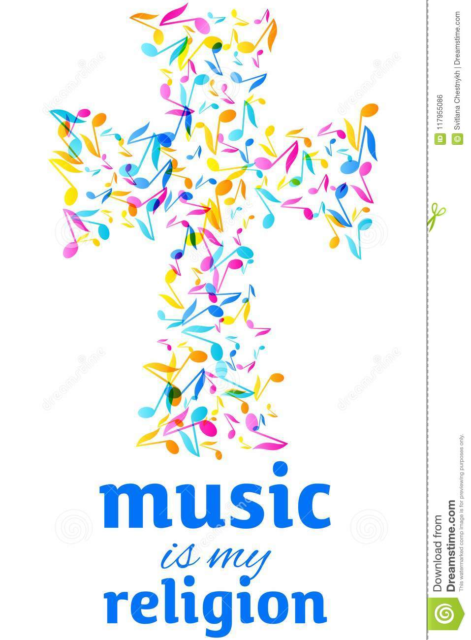 Colorful Music Quote Notes Background Vector Illustration Stock
