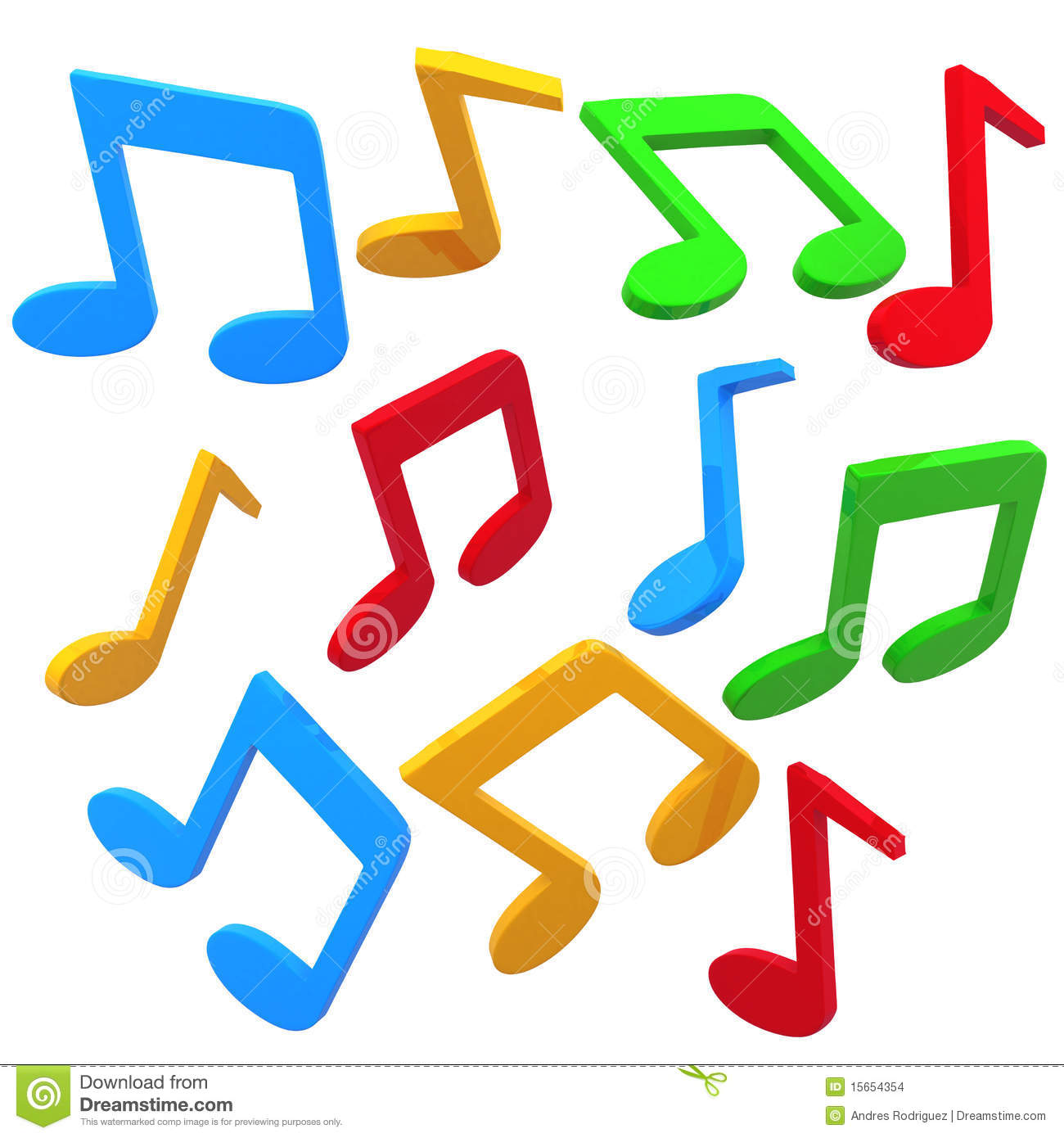 Colorful music notes isolated over a white background