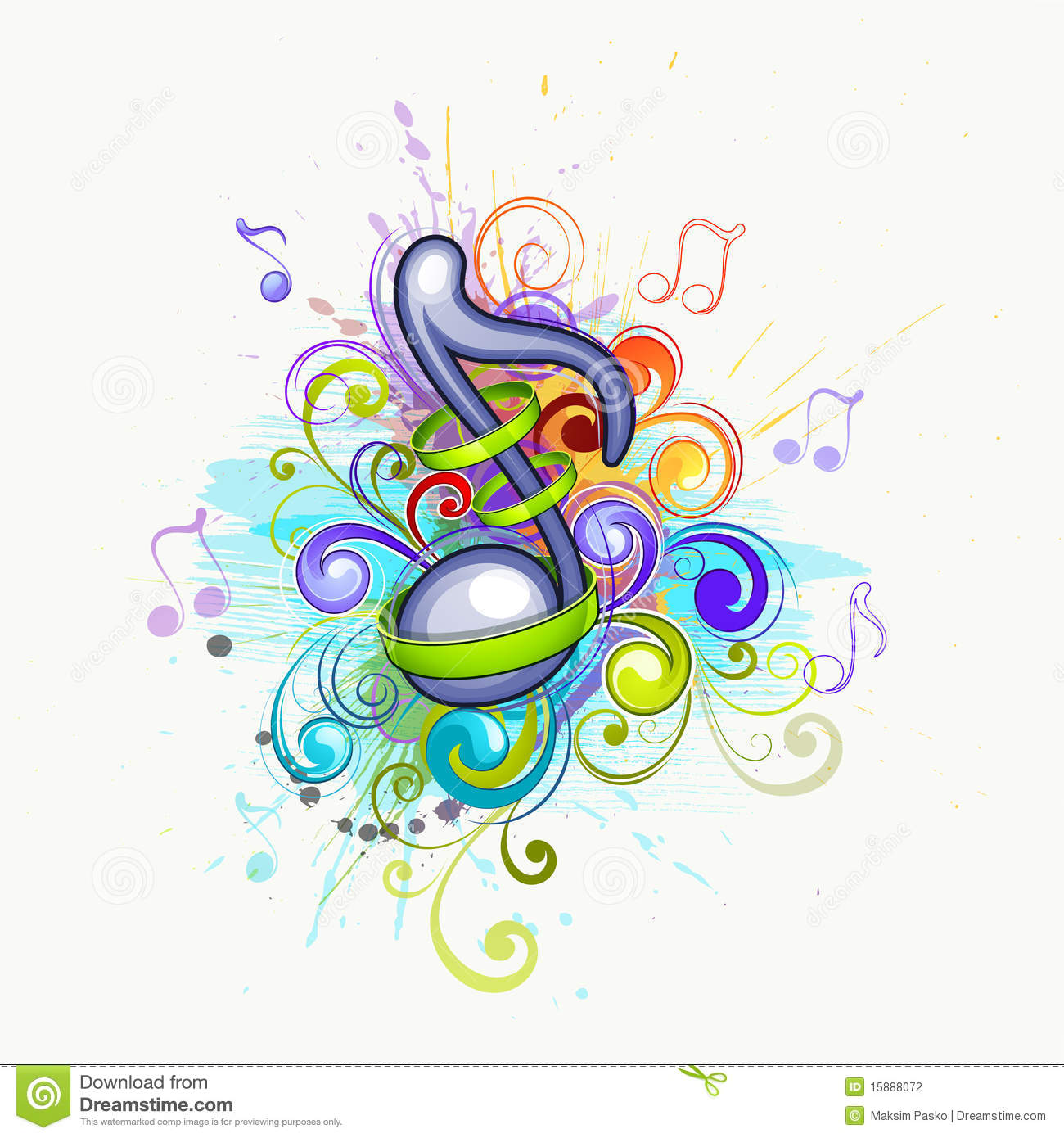 Colorful Music Notes Stock Vector Illustration Of
