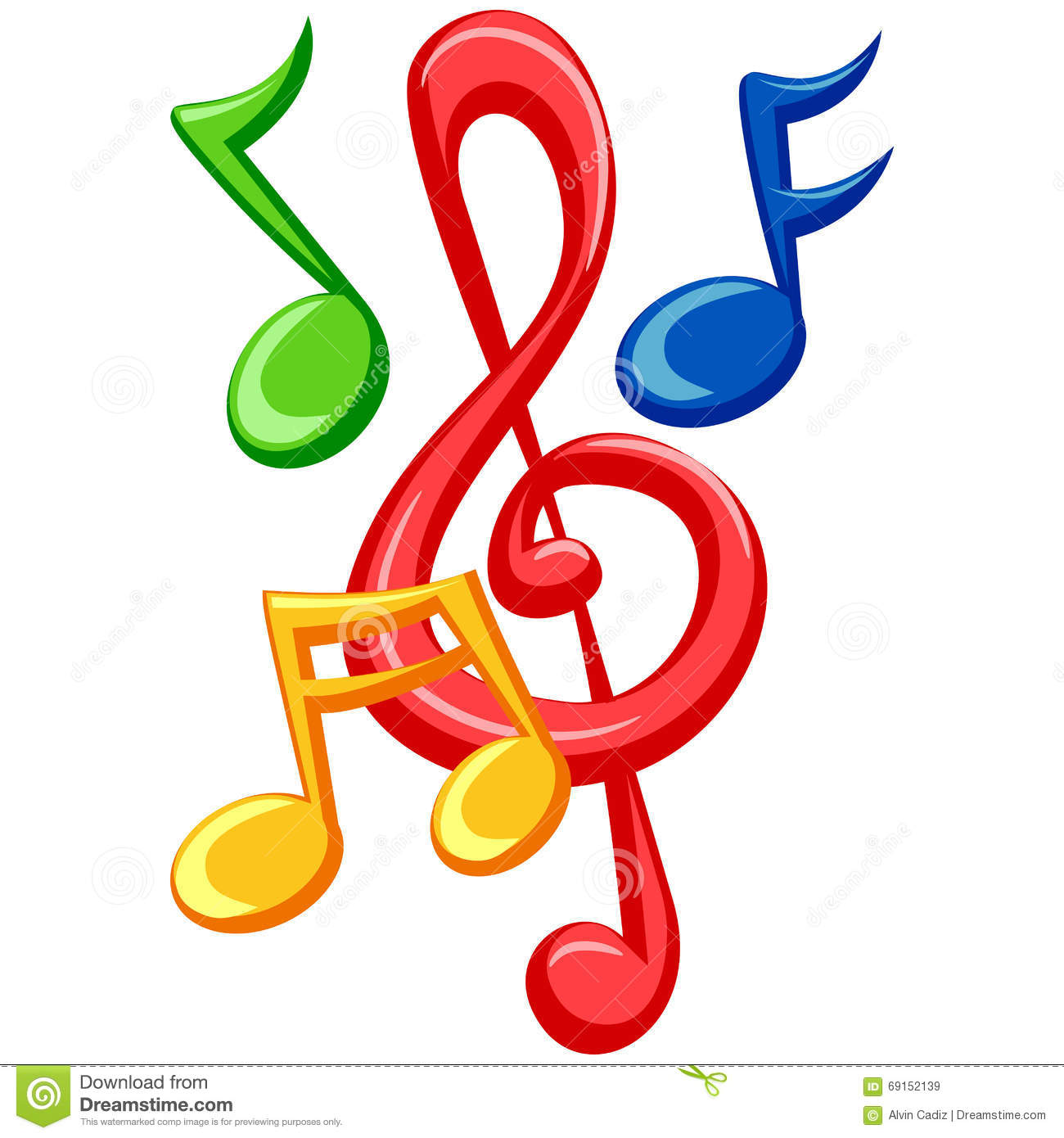 Colorful Music Notes stock vector. Illustration of ...