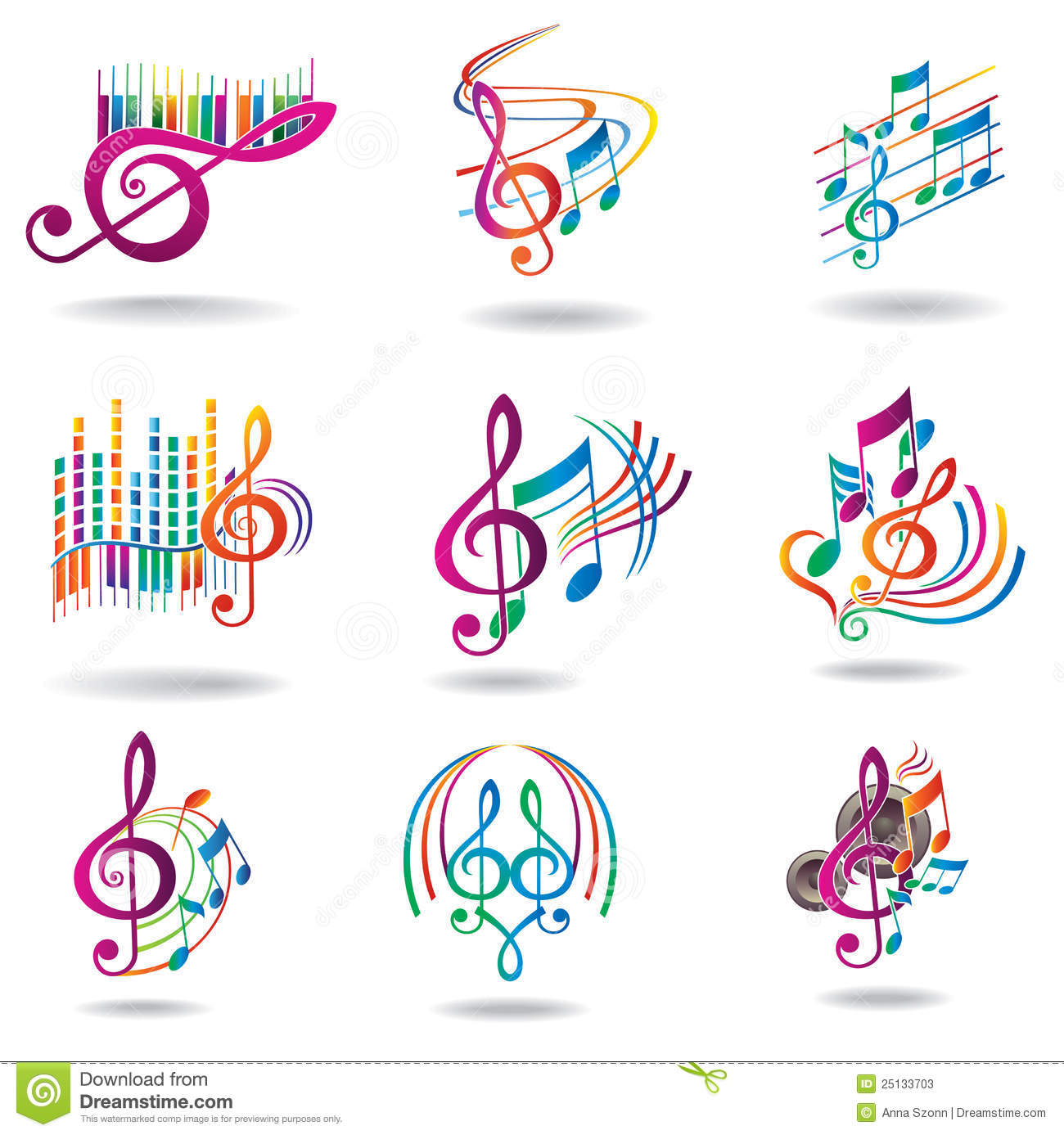 Colorful Music Notes. Set Of Music Design Elements Stock ...