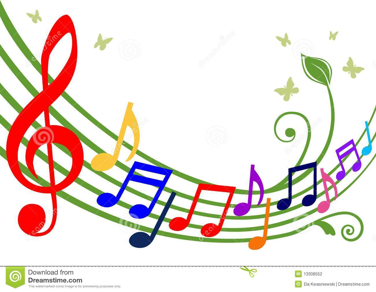 Music theme - dancing colorful notes on white background. Full