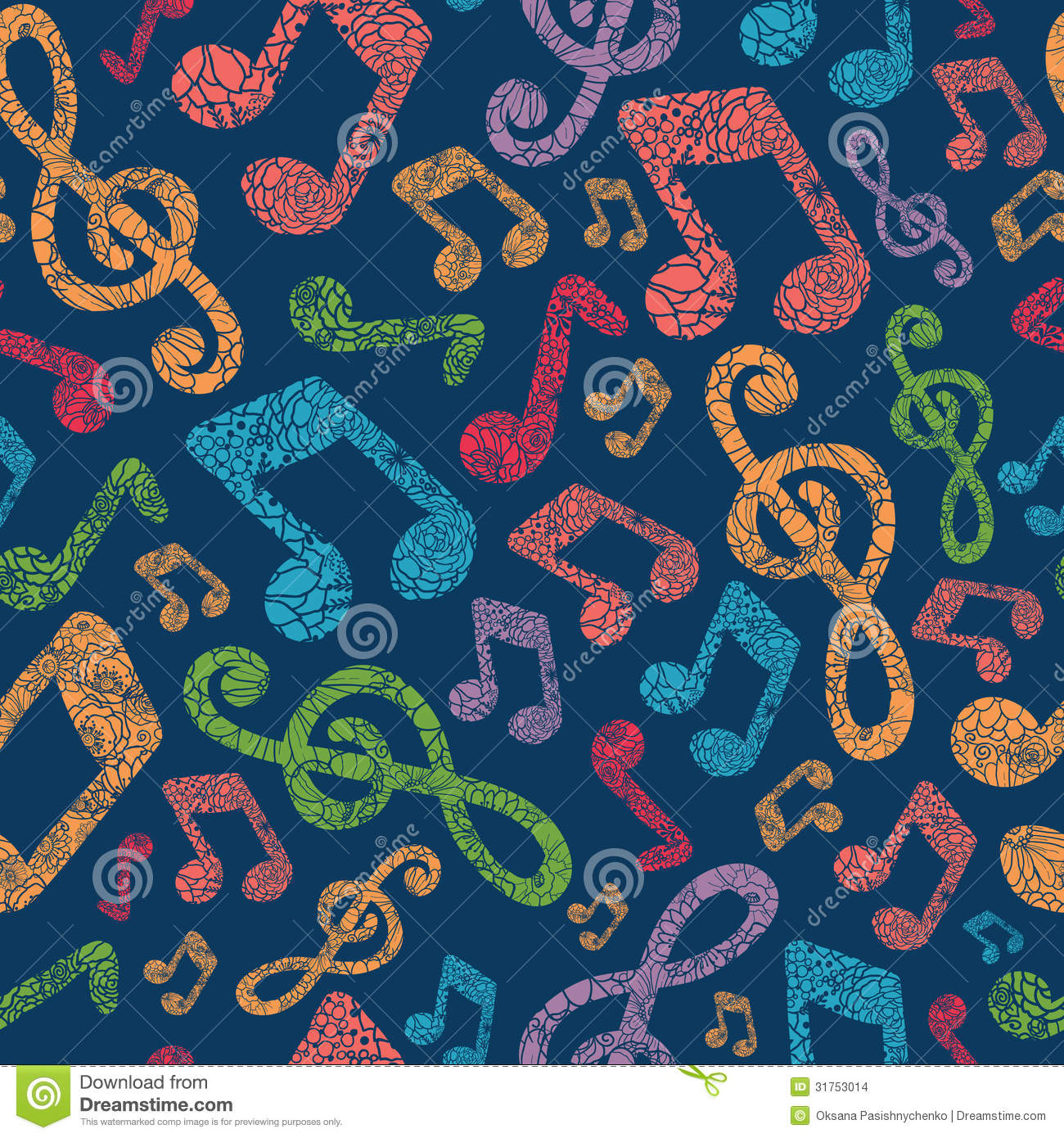 Colorful Musical Notes Seamless Pattern Background Stock