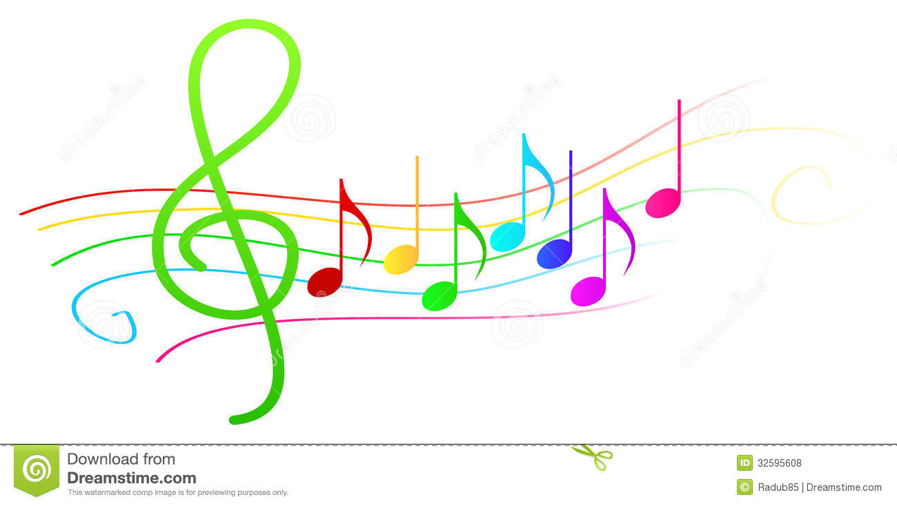 Colorful Musical Notes On Stave Stock Vector Image 32595608