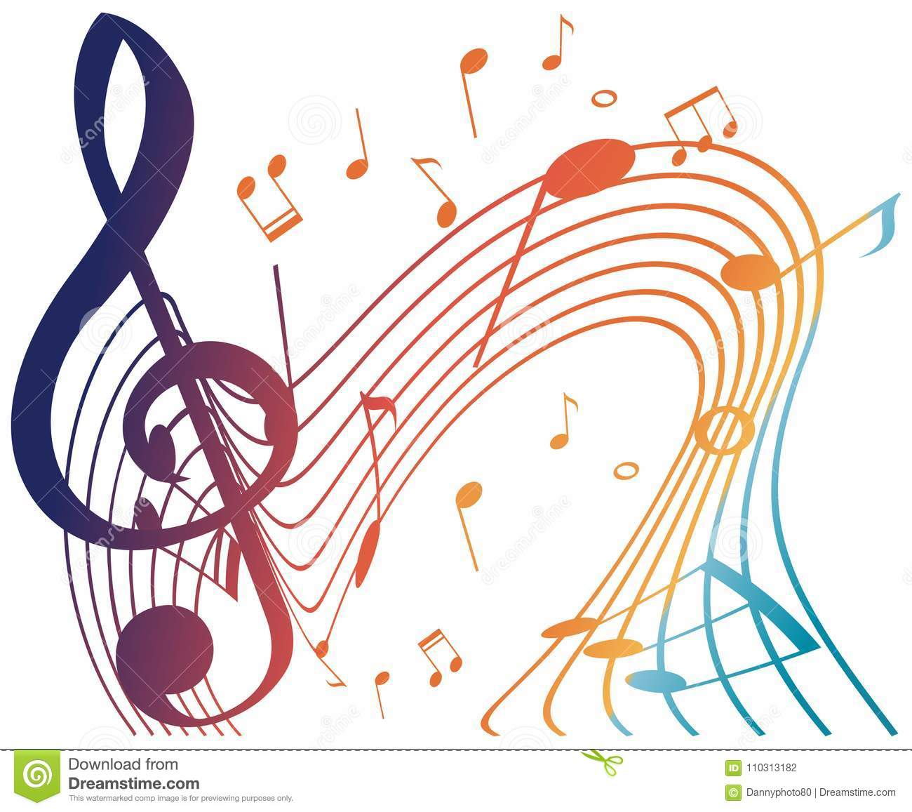 Colorful Musicnotes On White Background Stock Vector Illustration