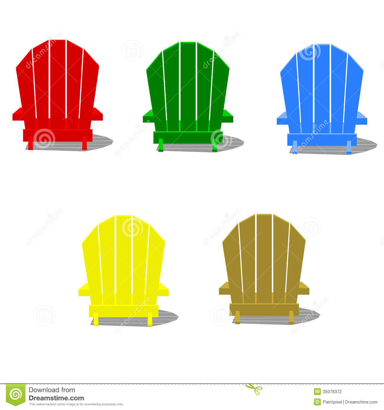 Colorful Muskoka Chairs stock vector. Illustration of blue ...