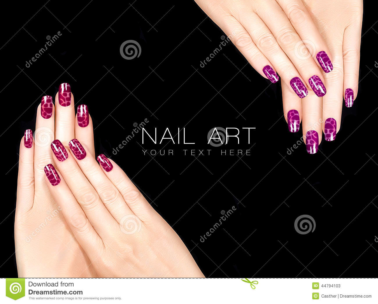 Colorful Nail Art. Crackle Nail Lacquer. Tattoo Stock Image - Image ...