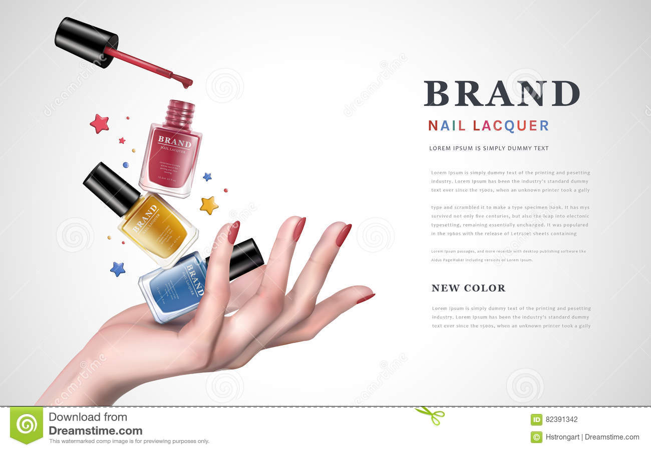 Colorful nail lacquer ad stock illustration. Illustration of star ...
