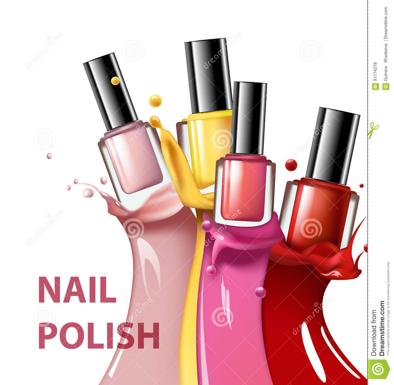 Download Colorful Nail Lacquer Polish Splatter On White Background 3d Illustration Vogue