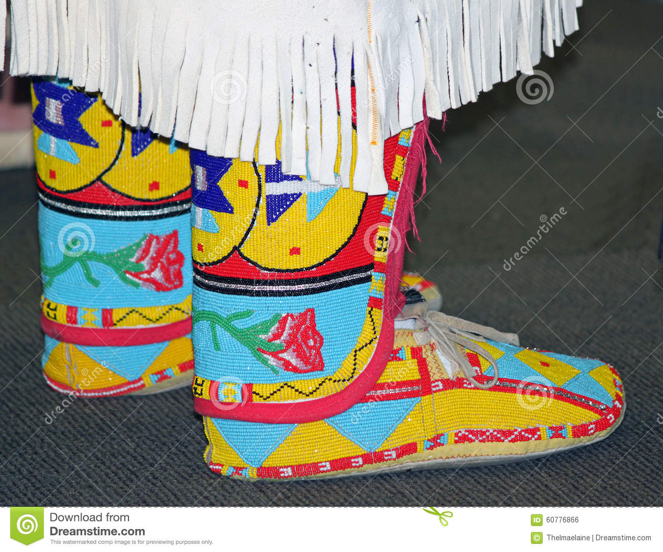 colorful native american beaded moccasins stock photo