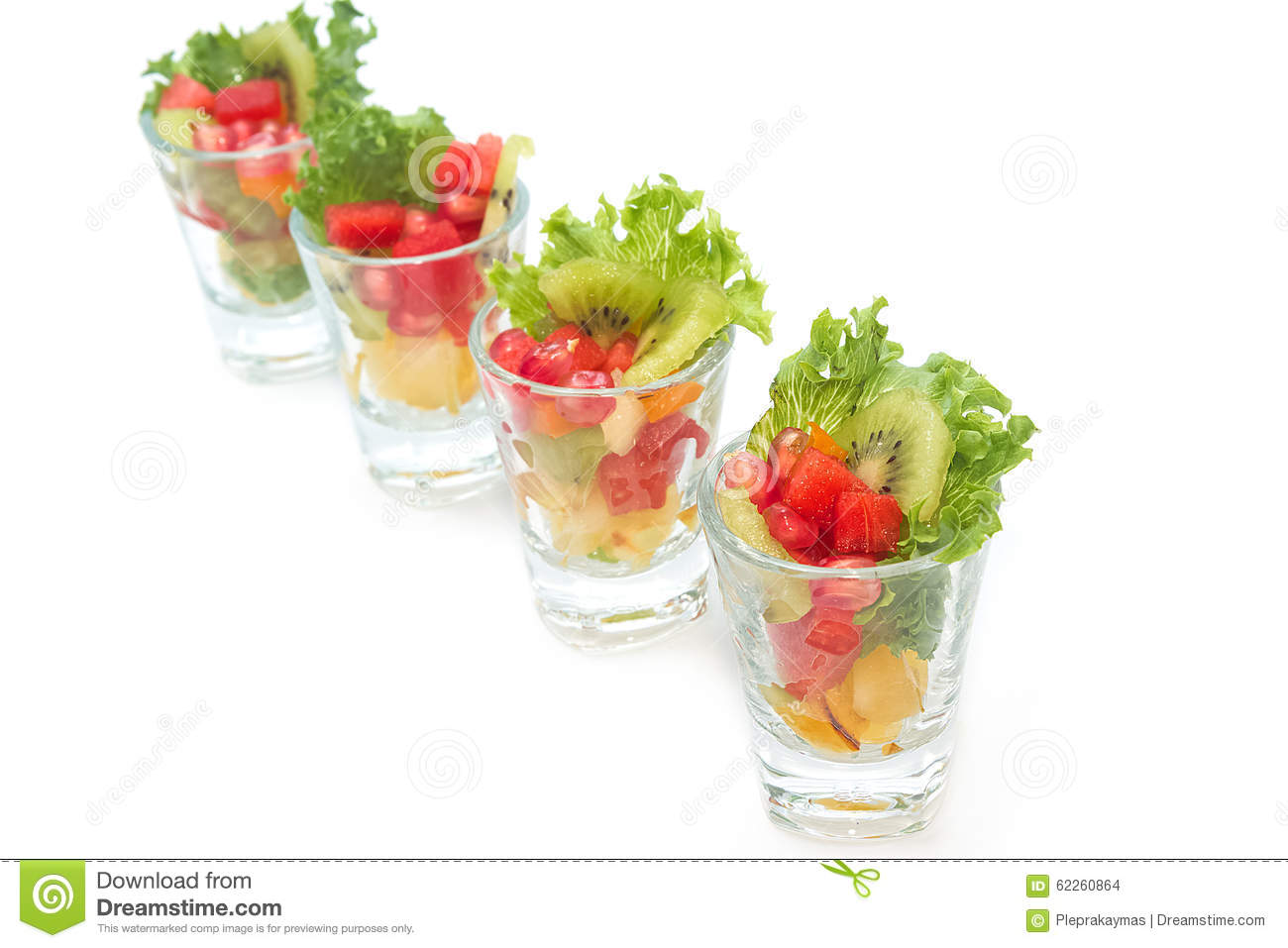 Colorful Fruit Salad In Transparent Glasses Royalty-Free ...