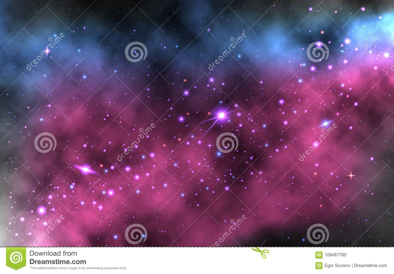 colorful nebula background. realistic space wallpaper with milky way