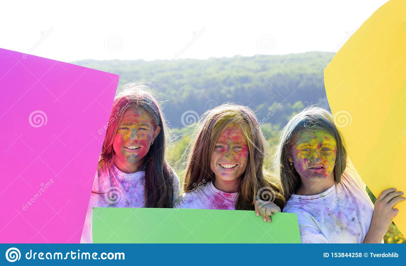 Colorful neon paint makeup. positive and cheerful. children with creative body art. Happy youth party. Optimist. Spring