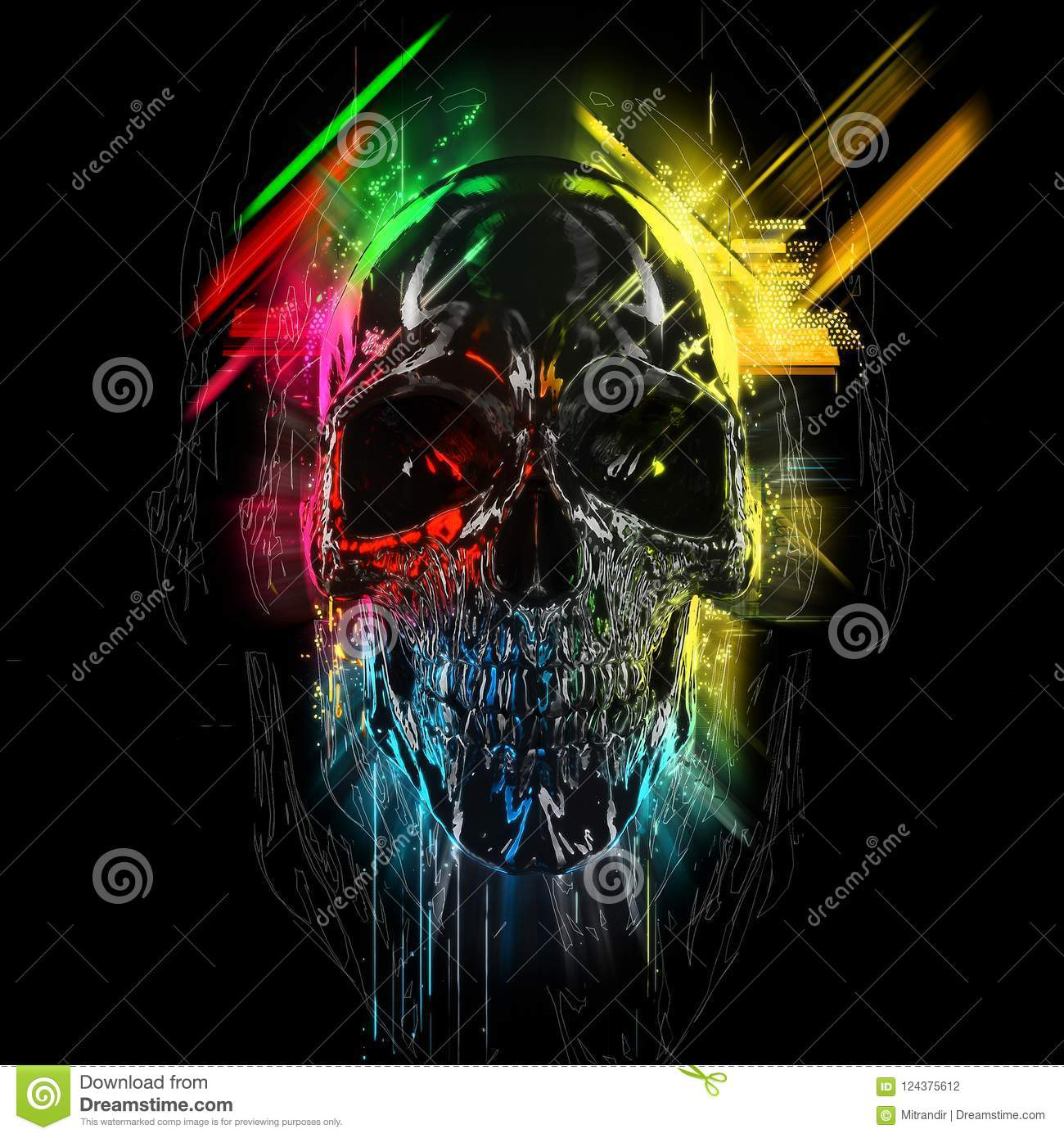 Colorful Neon Skull Glows And Streaks Stock Illustration Illustration Of Background Isolated 124375612
