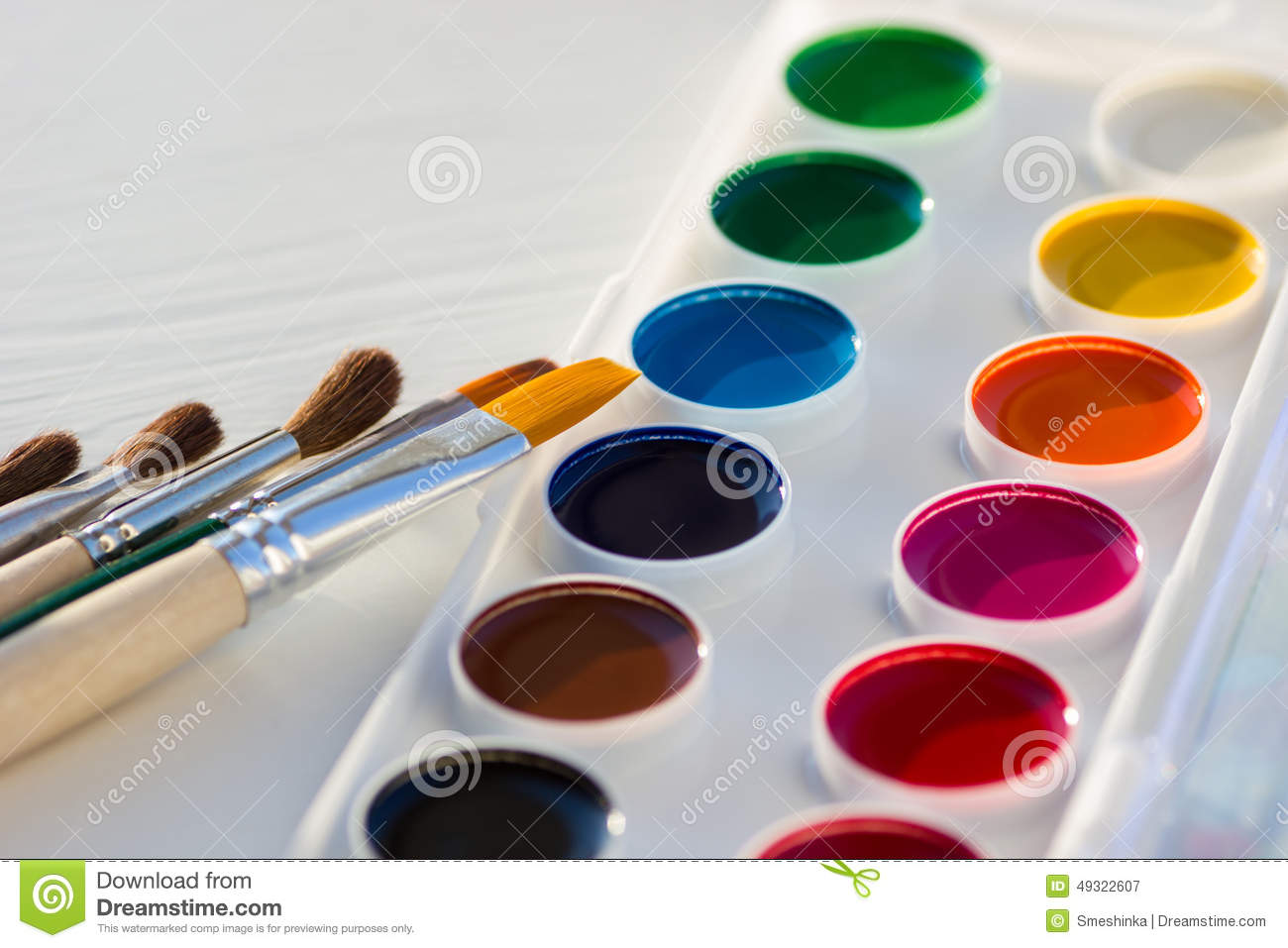 Colorful New Watercolor Paint Pan Set And Brushes Stock