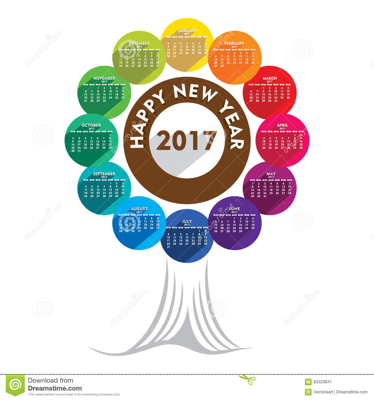 New Year Calendar Design : Colorful new year calendar design stock vector