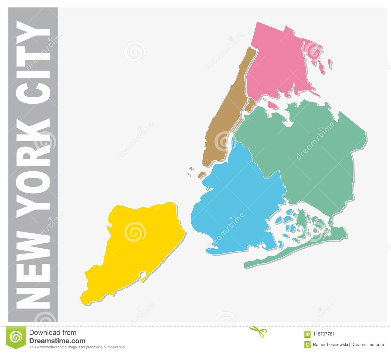 New York City On A Map Of The Us.Colorful New York City Administrative And Political Vector Map