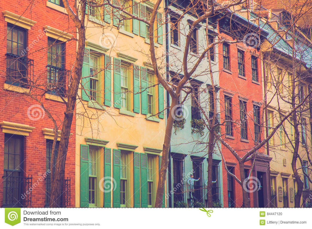 City Apartment Buildings colorful new york city apartment buildings stock photo - image