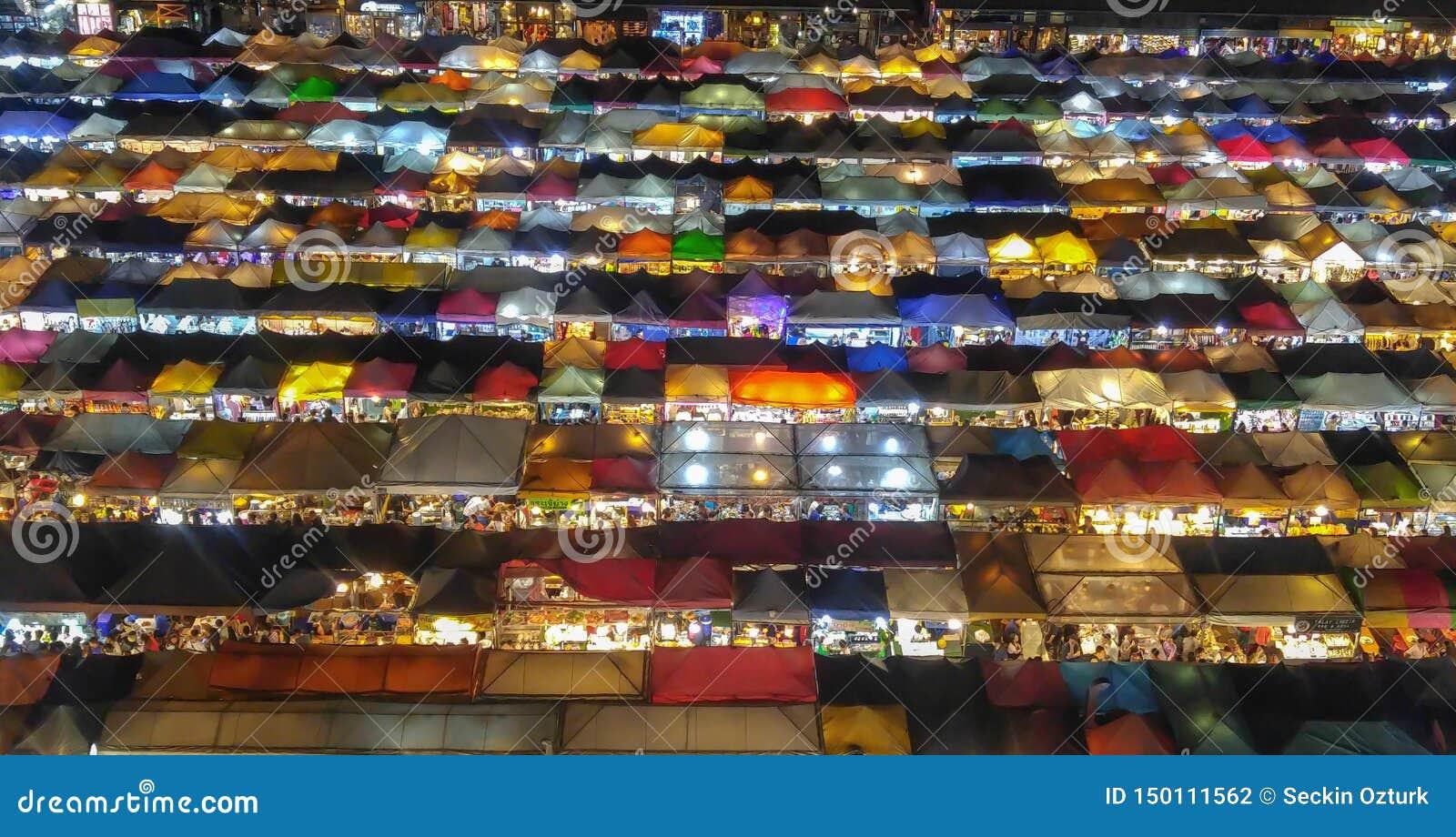 Colorful Night Market in Bangkok