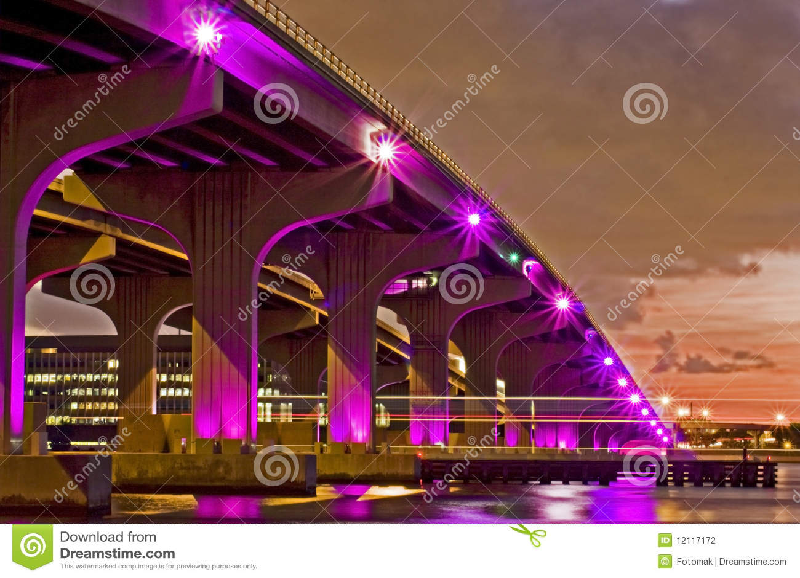 bay bridge colorful florida illuminated miami night ...
