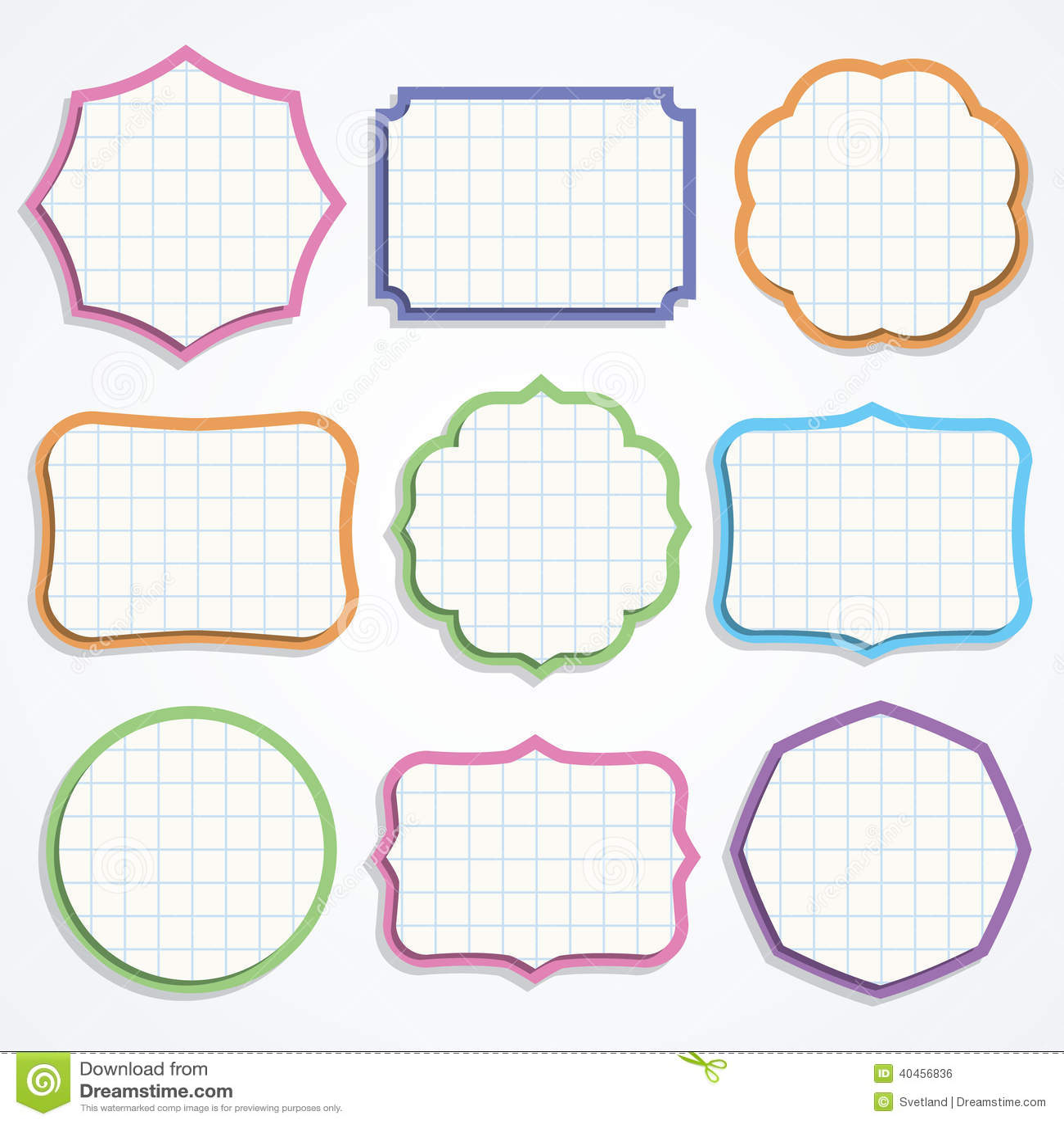 colorful note paper shapes stock vector image 40456836. Black Bedroom Furniture Sets. Home Design Ideas