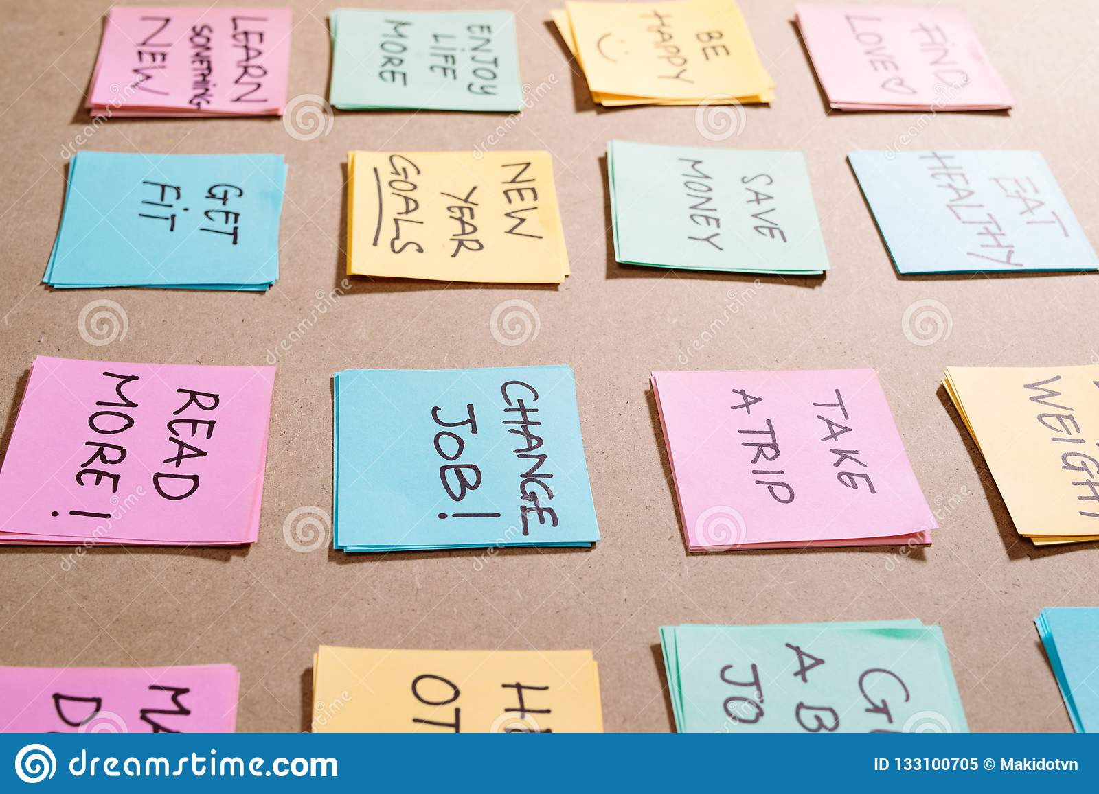 Colorful of notes with hand writing of positive attitude words