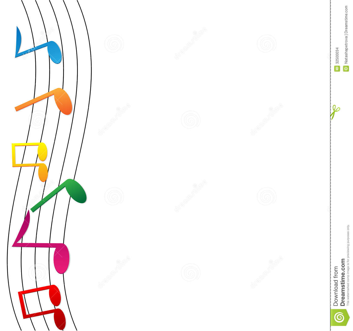 Musical Wallpaper Borders: Colorful Notes On White Background Stock Vector