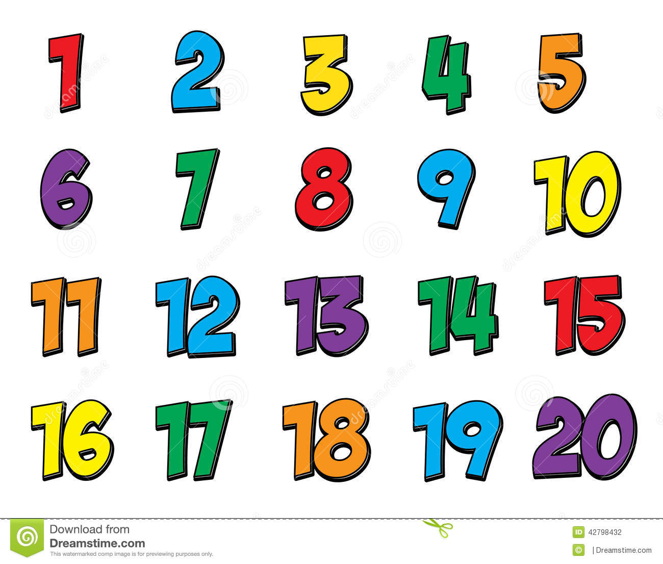 Colorful Number Set 1-20 Stock Illustration - Image: 42798432