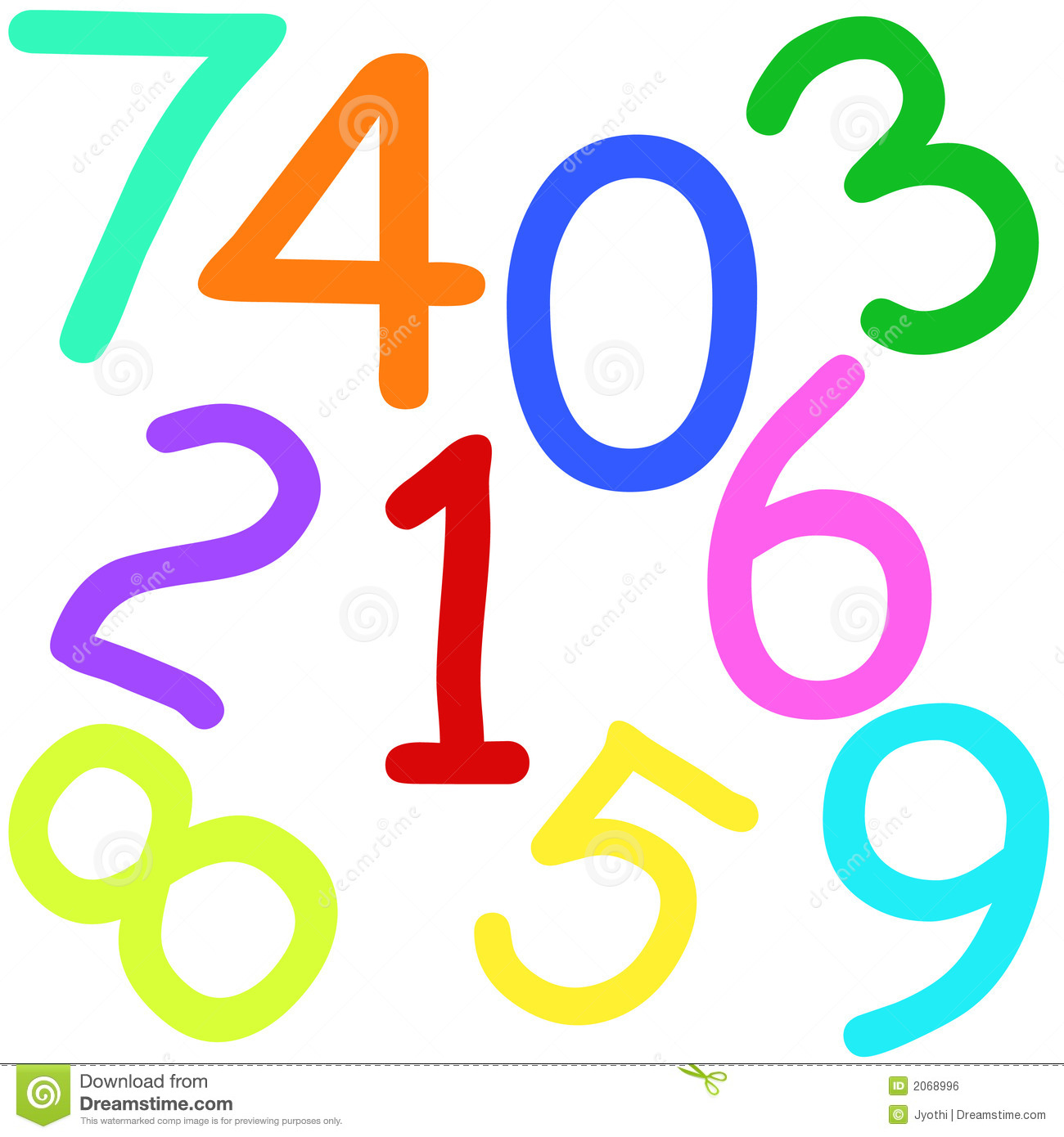 Colorful numbers stock illustration. Illustration of ...