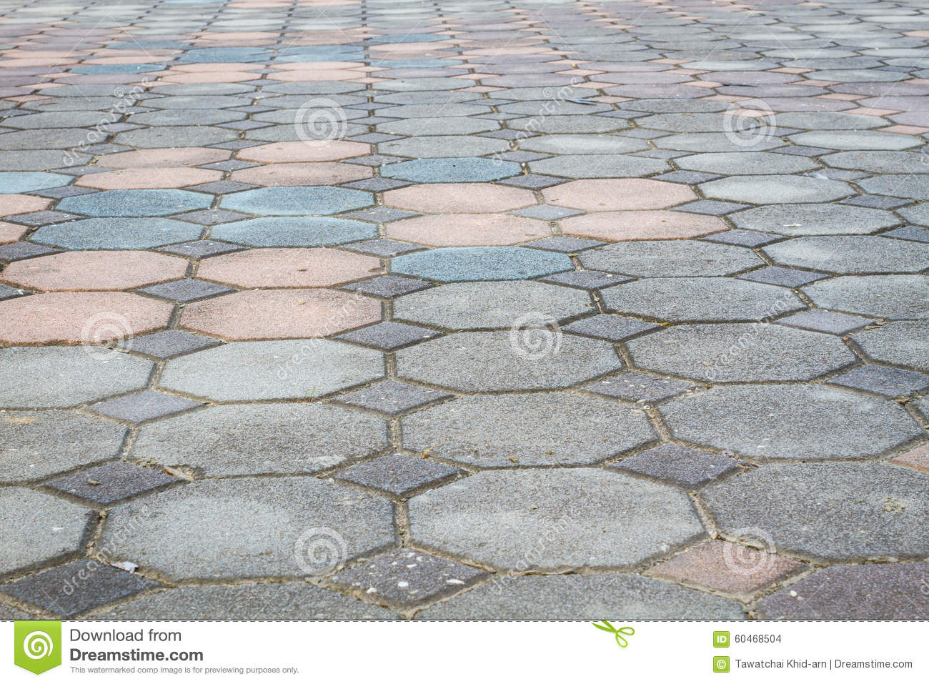Colorful octagonal brick paving ground with perspective view