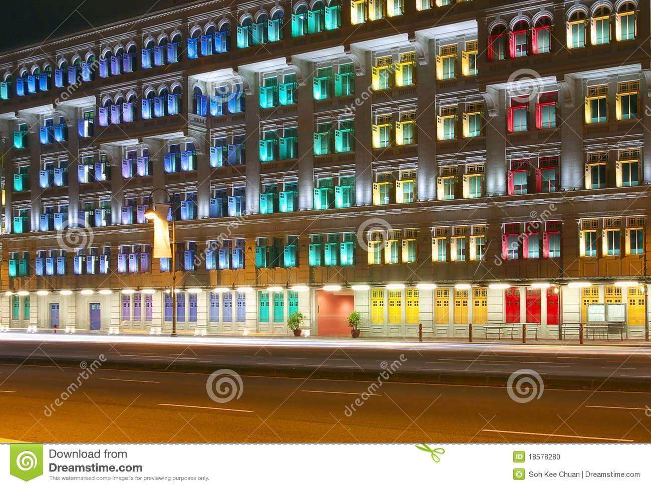 Colorful Office Building In The Night