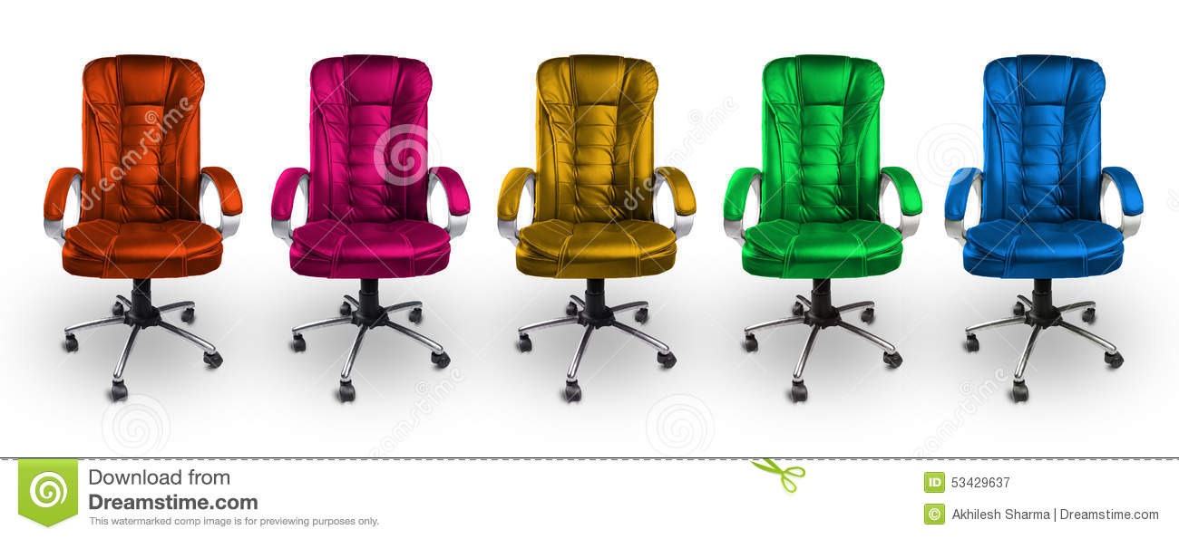 Colorful Office Leather Chairs   Red, Pink, Yellow, Green And Blue.  Royalty Free Stock Photo. Download Colorful Office Leather Chairs ...