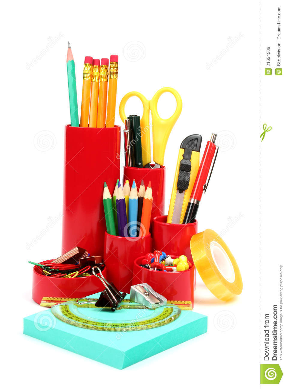 colorful office supplies royalty free stock image