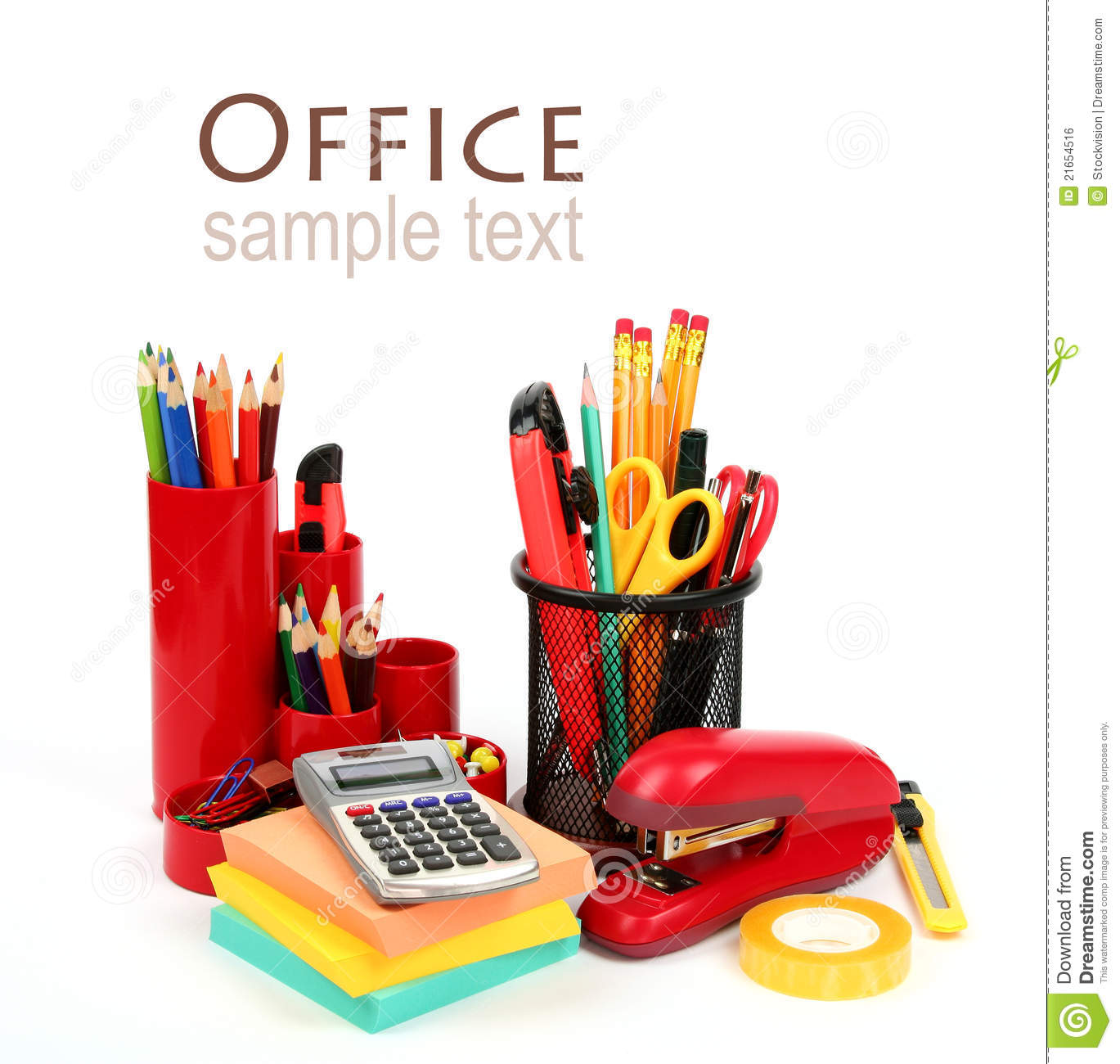 colorful office supplies royalty free stock image image