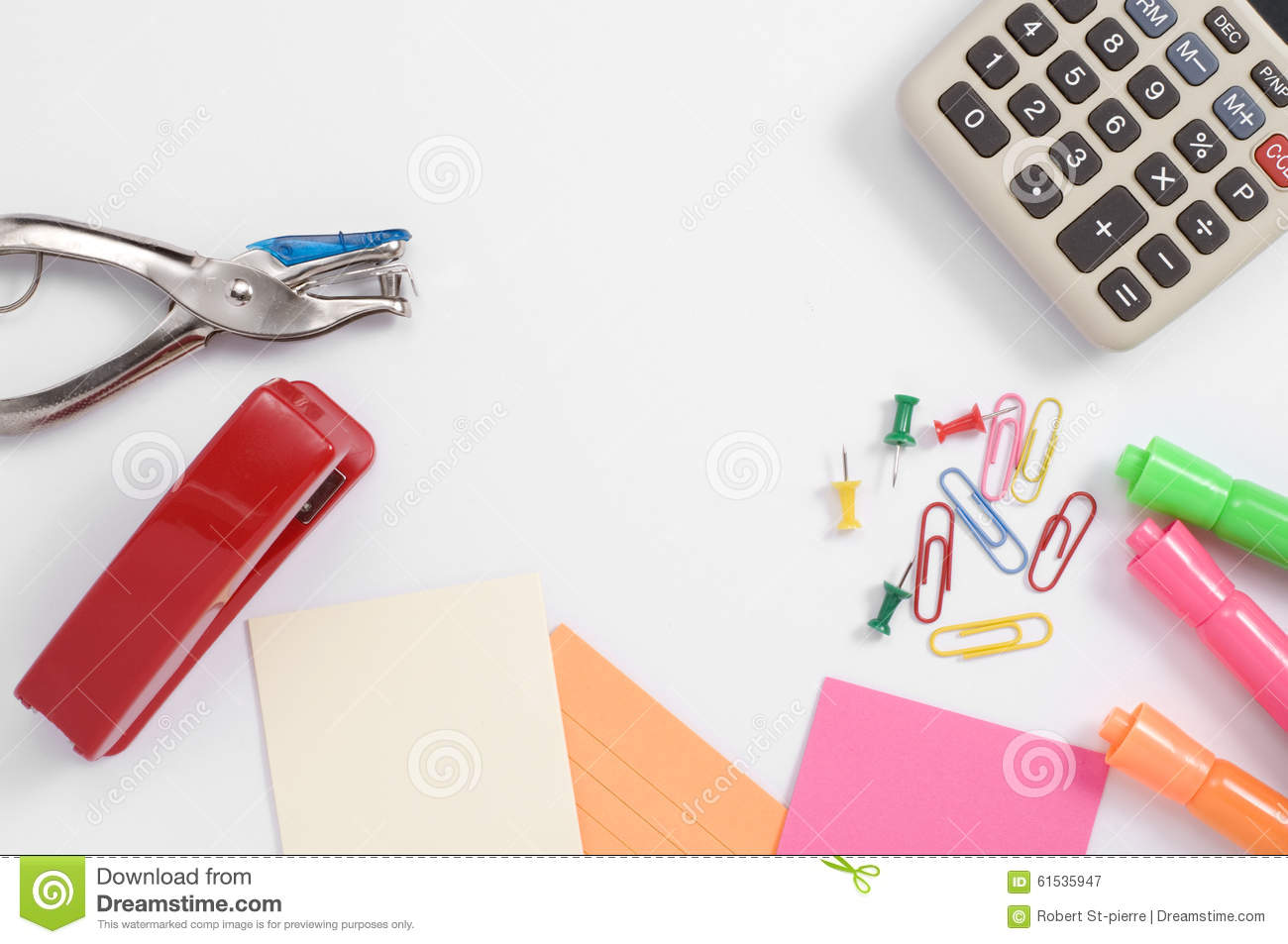 Colorful Office Supplies And Calculator Stock Photo