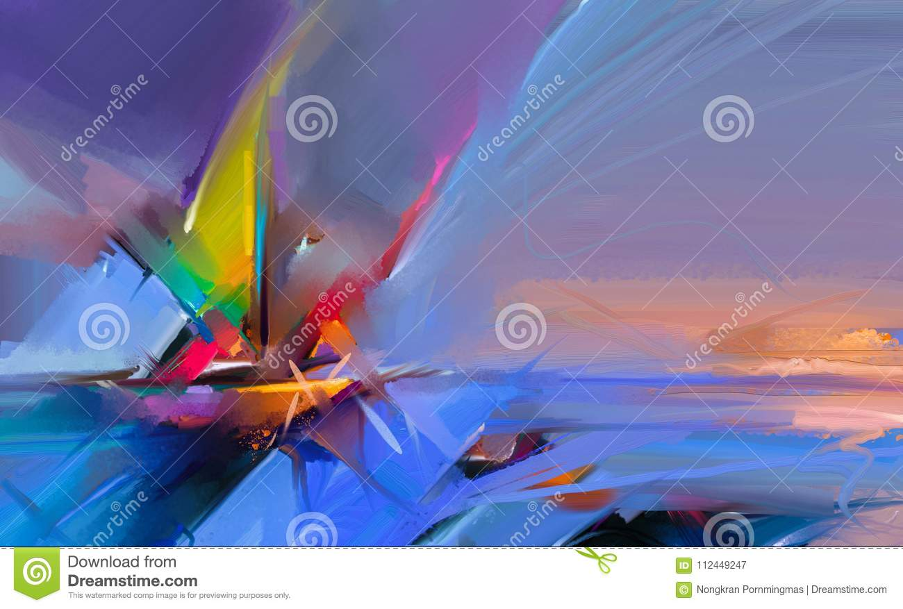 Colorful oil painting on canvas texture. Semi- abstract image of seascape paintings with sunlight background